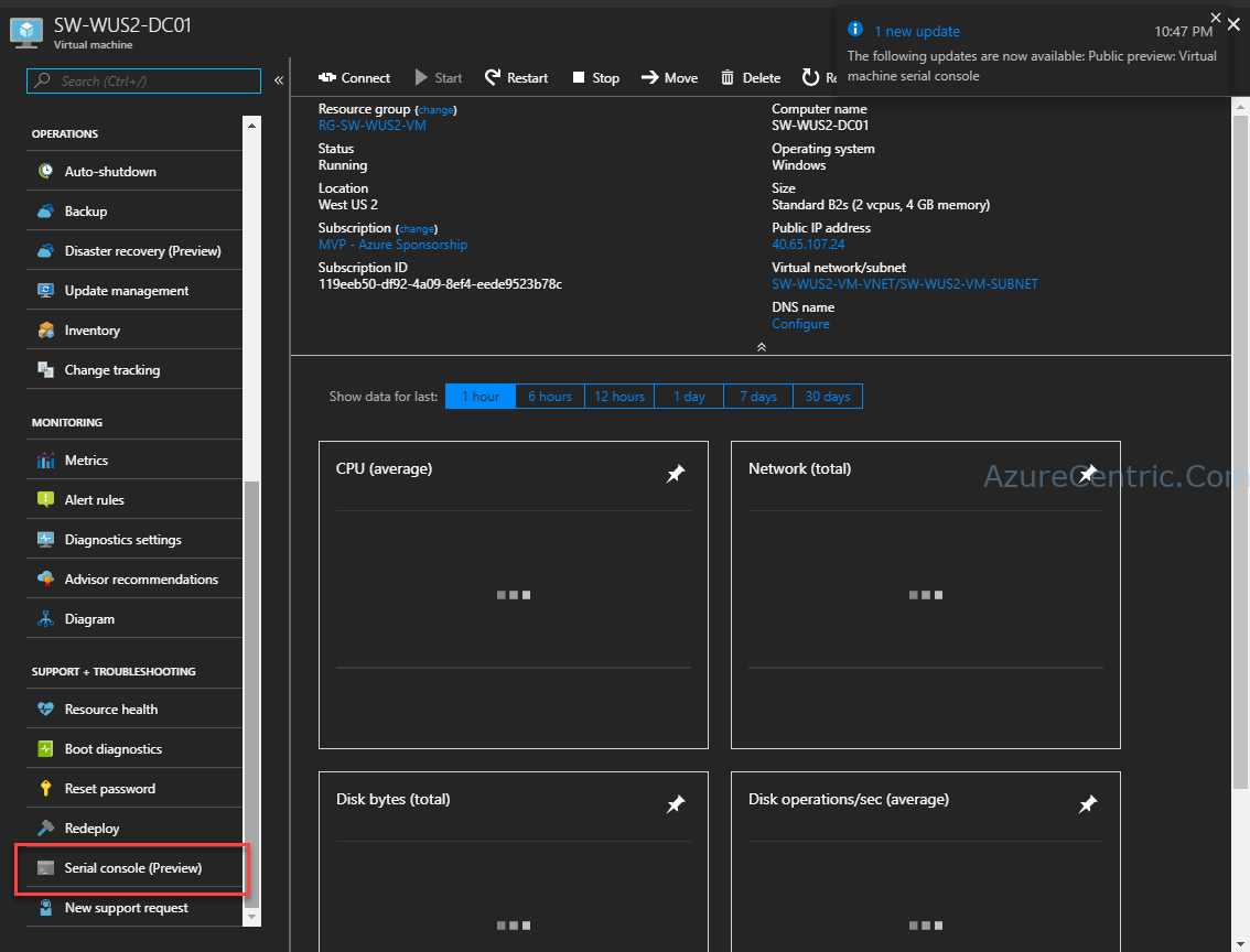 Serial Console access on Azure Virtual Machine