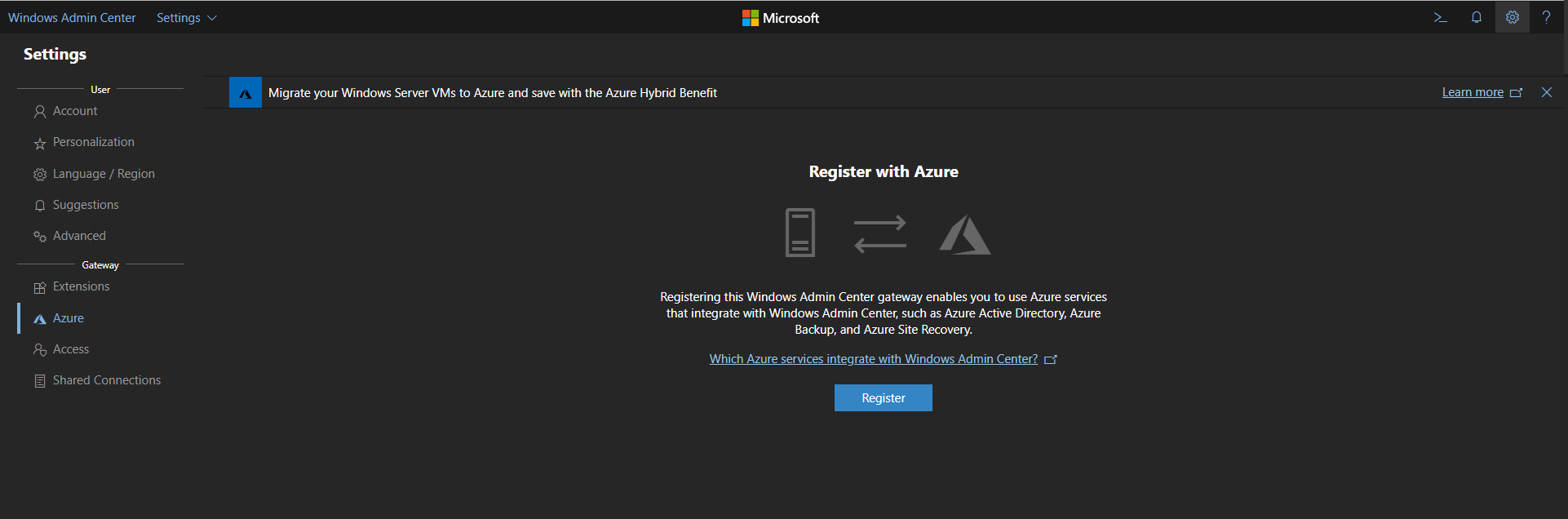 How to Connect Windows Admin Center with Azure