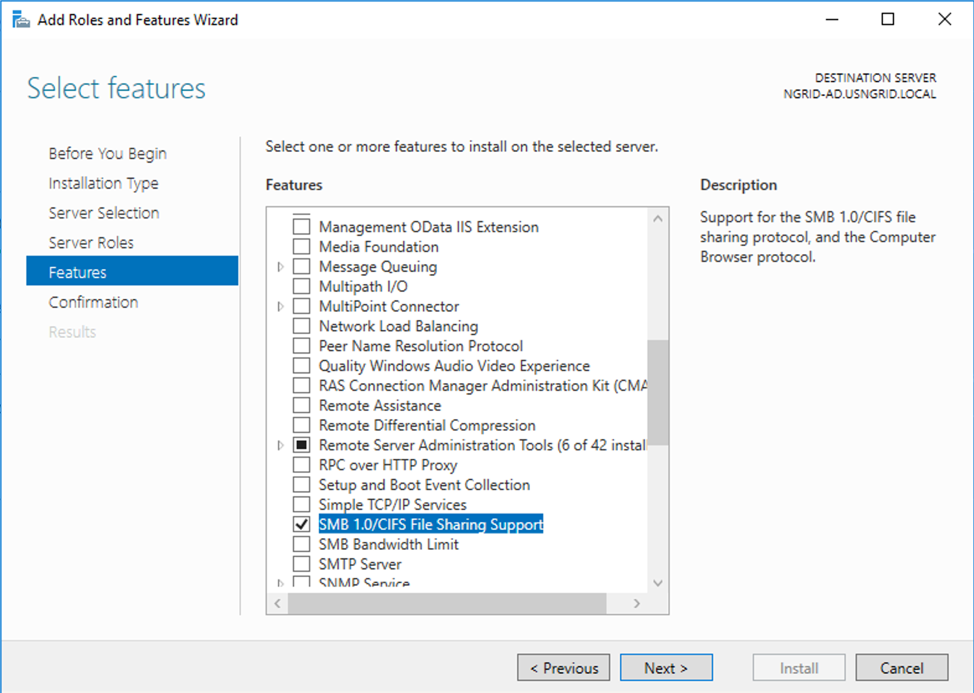 Error 0x800F081F when adding features on Windows Server 2016 on Azure Virtual Machine